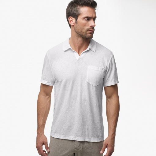 White Linen Polo Shirt