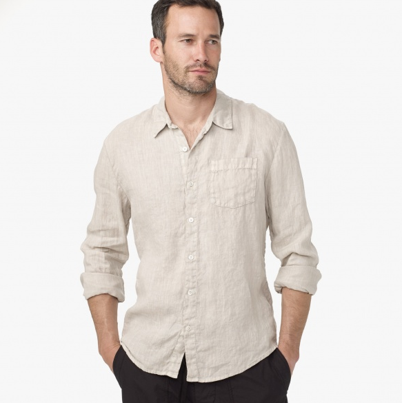 Beige Linen Shirt for Men