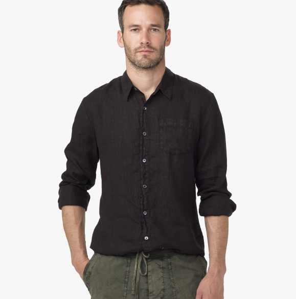 Black Linen Shirt for Men