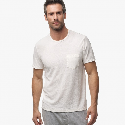 Cotton Linen Crew Neck for Men - Cream Color