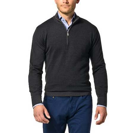Mock Neck Half Zip Pullover Cashmere Blend